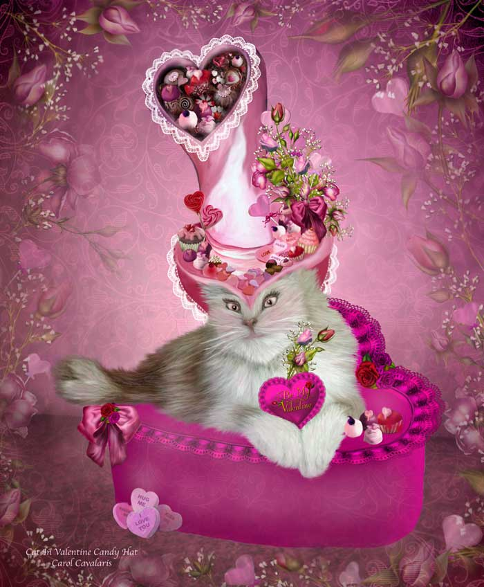 Cat In Valentine Candy Hat