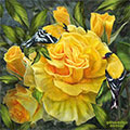 Goldfinches On gold Roses